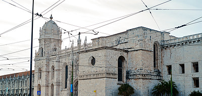 Buy stock photo Cropped shot of the Jerónimos Monastery in the heart of Lisbon during the day