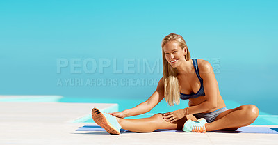 Buy stock photo Full length portrait of a beautiful young woman warming up before starting her workout