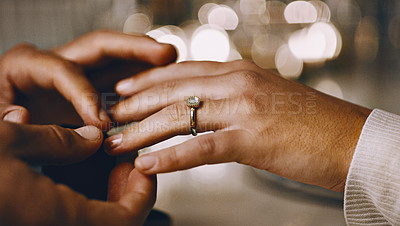Buy stock photo Closeup shot of an unrecognizable man proposing marriage to his girlfriend