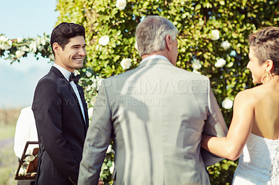 Buy stock photo Shot of a mature man giving his daughter away on her wedding day