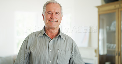 Buy stock photo Portrait of a confident senior man at home