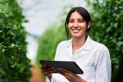 Buy stock photo Portrait of an attractive young botanist using a digital tablet while working outdoors in nature