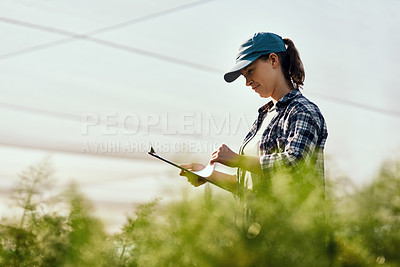 Buy stock photo Cropped shot of an attractive young female farmer looking over paperwork while working on her farm