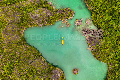 Buy stock photo High angle shot of a little islets and islands in the middle of Indonesia