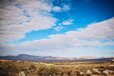 Buy stock photo Still life shot of a mountainous landscape