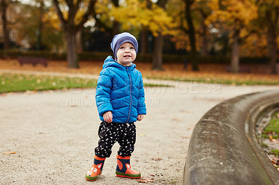 Buy stock photo Full length shot of an adorable little boy standing alone in a park in autumn