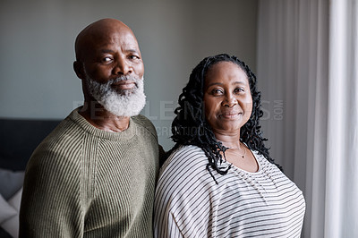 Buy stock photo Portrait of a mature couple at home