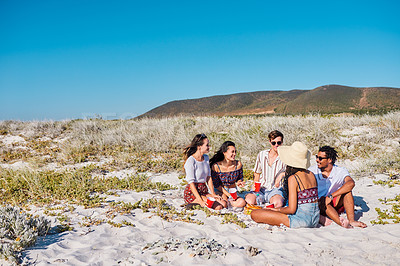 Buy stock photo Full length shot of a group of young friends having a picnic together at the beach