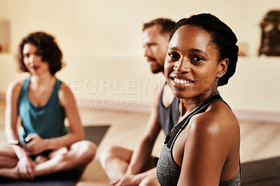 Buy stock photo Portrait of a confident young woman attending a yoga class