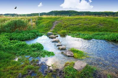 Buy stock photo A landscape photo of a small river - Rebild, Denmark