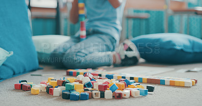 Buy stock photo Cropped shot of a young girl playing with building blocks at school