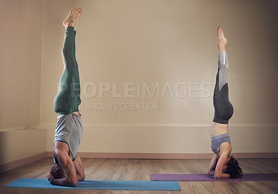 Buy stock photo Full length shot of two unrecognizable yogis holding elbow stands during an indoor yoga session