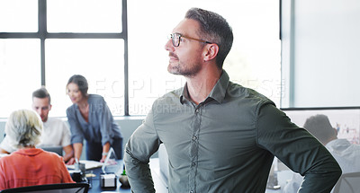 Buy stock photo Shot of a confident mature businessman working in a modern office with his colleagues in the background