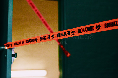 Buy stock photo Shot of an open door with barrier tape surrounding it