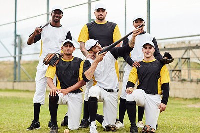Buy stock photo Full length shot of a team of baseball players posing together on the pitch during the day