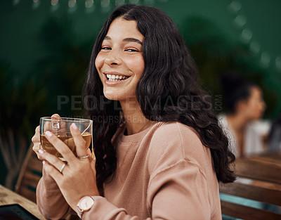 Buy stock photo Shot of a beautiful young woman enjoying a relaxing break at a cafe