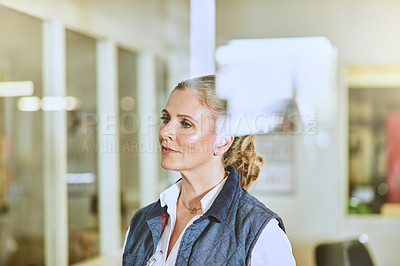 Buy stock photo Cropped shot of an attractive mature supervisor standing alone in her warehouse during the day