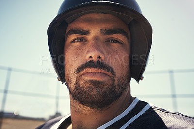 Buy stock photo Portrait of a young man playing a game of baseball