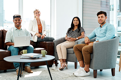 Buy stock photo Portrait of a group of businesspeople having a discussion in an office lounge