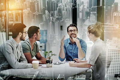 Buy stock photo Shot of a group of businesspeople having a meeting superimposed on a city background
