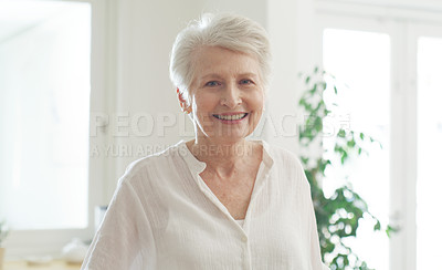 Buy stock photo Portrait of a beautiful senior woman smiling at home