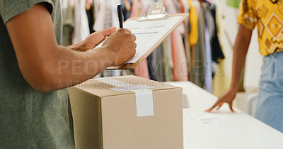 Buy stock photo Cropped shot of a woman organising deliveries in a design studio