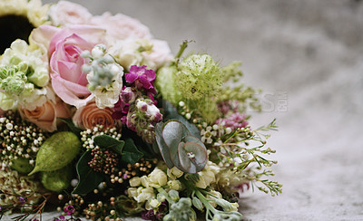 Buy stock photo Closeup shot of a bridal bouquet in an empty room