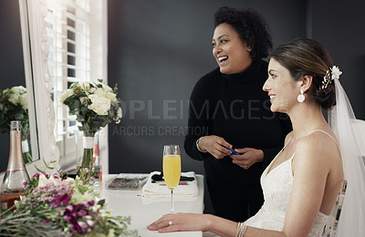 Buy stock photo Cropped shot of a beautiful bride getting her makeup done on her wedding day