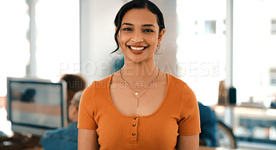 Buy stock photo Portrait of a young designer standing in an office