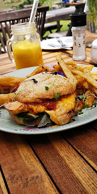 Buy stock photo Shot of a farm raised chicken burger served with onion rings, potato fries and freshly squeezed orange juice