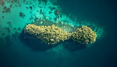 Buy stock photo High angle shot of the beautiful islands of Raja Ampat
