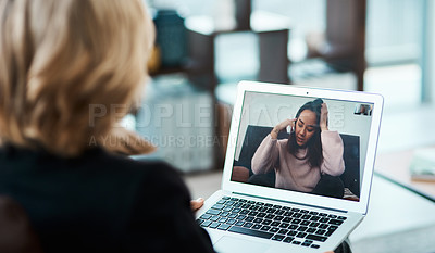 Buy stock photo Shot of a young woman having a counselling session with a psychologist using a video conferencing tool