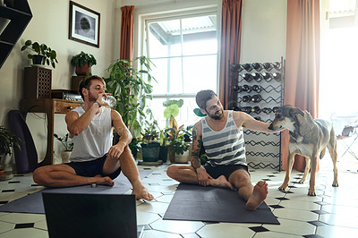 Buy stock photo Shot of two men playing with their dog after doing a yoga workout at home