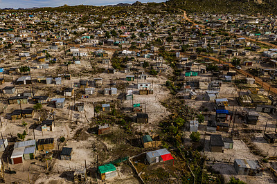 Buy stock photo Shot of a township in South Africa