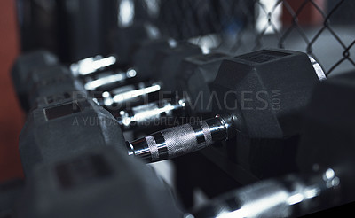 Buy stock photo Still life shot of dumbbells in a gym