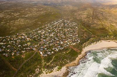 Buy stock photo Shot of an urban region along the coast