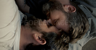 Buy stock photo Cropped shot of an affectionate mature couple sharing an intimate moment in their bed at home