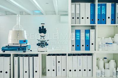 Buy stock photo Shot of an empty laboratory with various science related objects in it