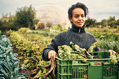 Buy stock photo Shot of a young woman holding a crate of fresh produce on a farm