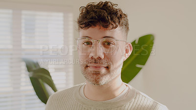 Buy stock photo Portrait of a young man spending the day at home