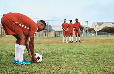 Buy stock photo Shot of a player getting ready for a free-kick