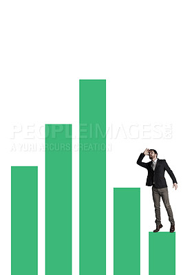 Buy stock photo Shot of a businessman looking up at a fluctuating financial graph against a white background