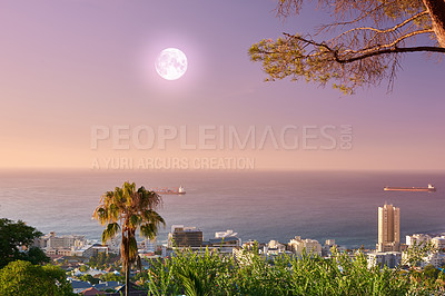Buy stock photo Sea Point after sunset - view from Signal Hill, South Africa
