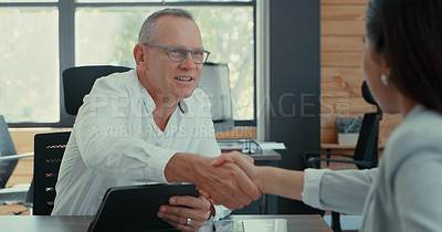 Buy stock photo Shot of a manager meeting with a potential employee for the first time
