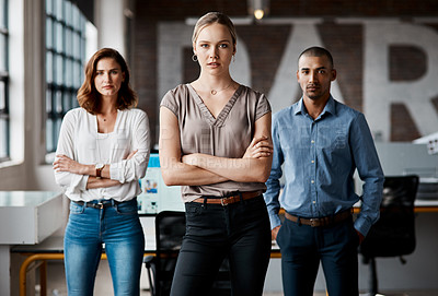 Buy stock photo Portrait of a group of businesspeople standing together in an office