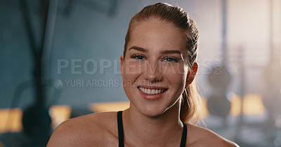 Buy stock photo Cropped shot of a beautiful young woman at the gym