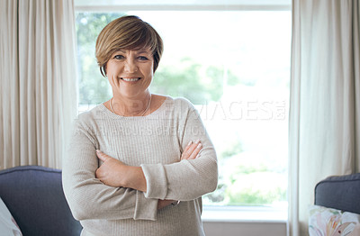 Buy stock photo Shot of a mature woman at home