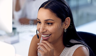 Buy stock photo Shot of a young woman working in a call center